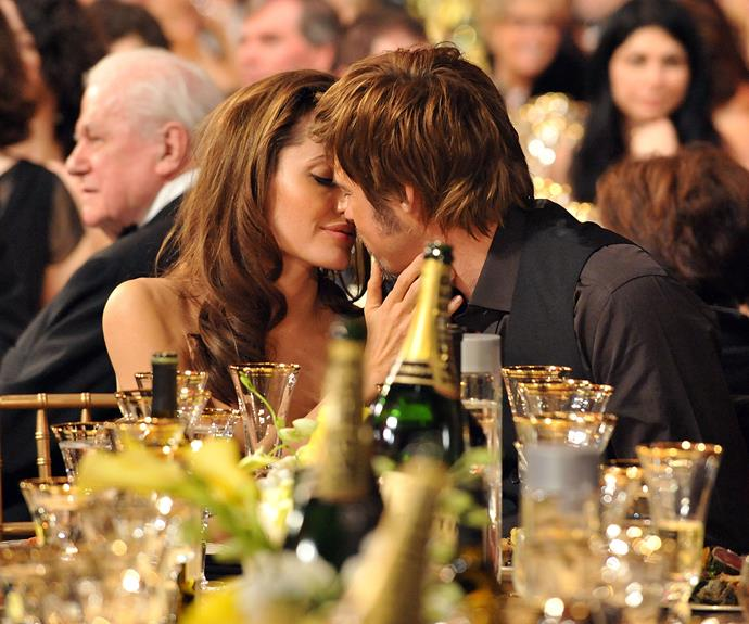 Brad and Ange steal a kiss during the Screen Actors Guild Awards in 2008.