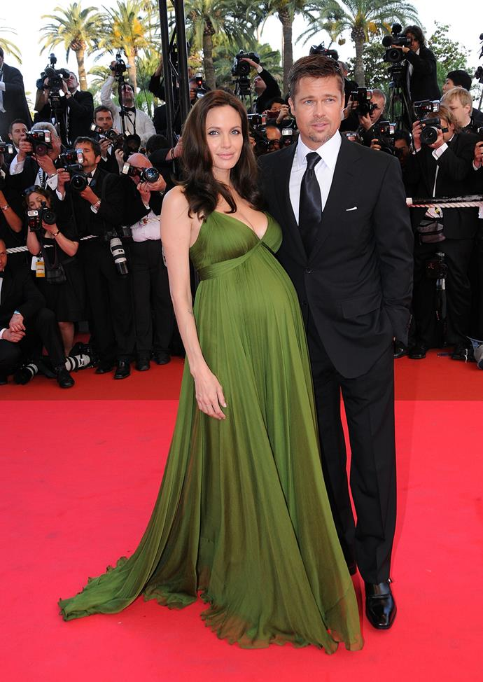 A pregnant Angelina glows on the red carpet at the premiere of her film *Kung Fu Panda* in 2008.