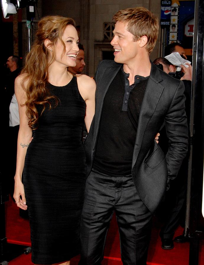 The photogenic couple share a laugh while attending the premiere for *Ocean's Thirteen* in Hollywood in 2007.