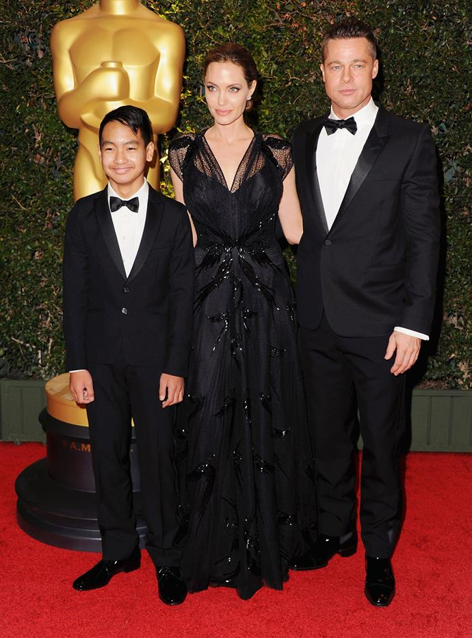 Brad, Angelina and their son Maddox at the Oscars. Photo: Getty