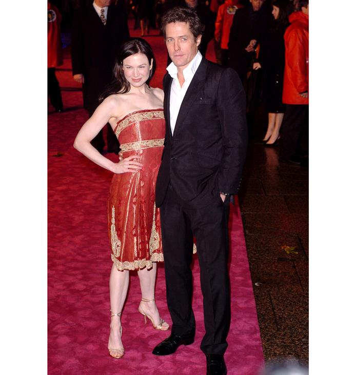 Hugh and Renee Zellweger at the premiere of *Bridget Jones: The Edge of Reason* in 2004. Photo: Getty