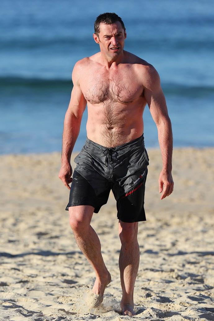 Hugh Jackman goes for a swim at Sydney's Bondi Beach.