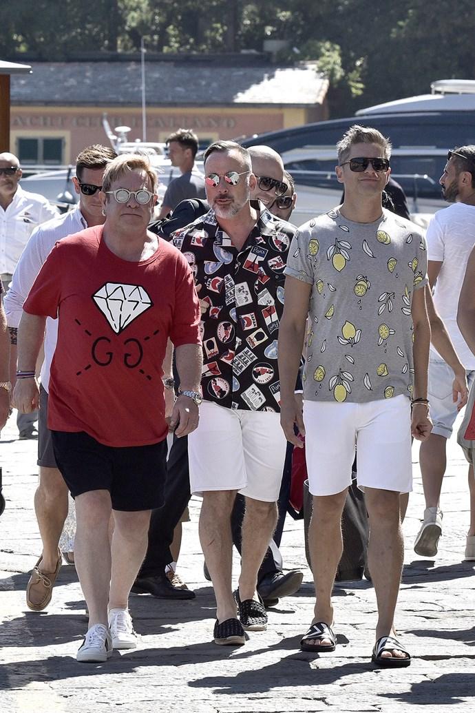 Elton John, David Furnish, David Burtka and Neil Patrick Harris get some sun in Portofino, Italy.