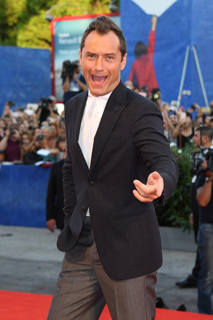 Jude Law gets snapped pulling a hilarious face at the premiere of his movie *The Young Pope* at the Venice Film Festival.