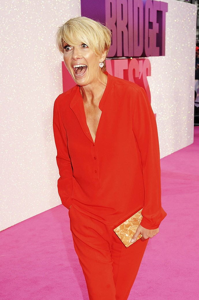 Emma Thompson certainly looks thrilled to be at the premiere of *Bridget Jones's Baby*!