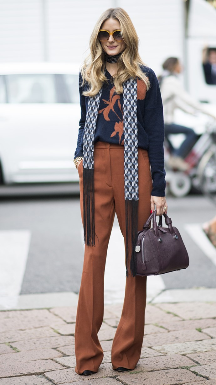 The queen of chic Olivia Palermo can do no wrong in this 70's inspired ensemble during Milan Fashion Week