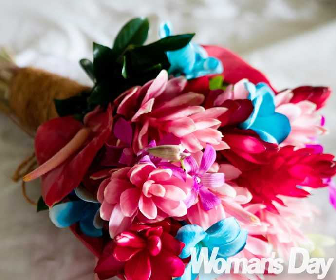 The vibrant bouquet of flowers Siobhan carried on the big day included blue and pink blooms.
