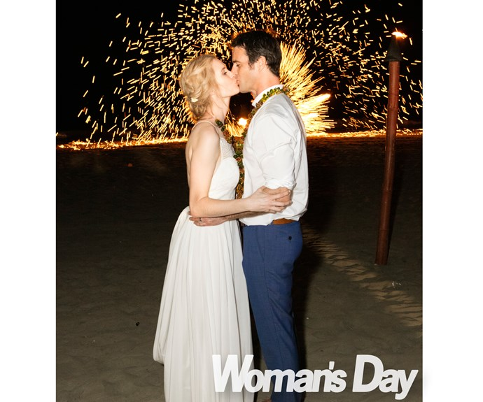 Afterwards, the couple shared a kiss as fireworks lit up the night sky.