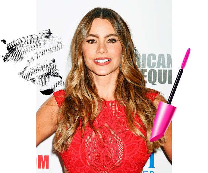 "**1. Sofia Vergara** ""I use three coats of mascara on my top lashes and one on the bottom,"" tells *Modern Family* star Sofia. ""Start as close to the base of your lashes as you can, then wiggle back and forth and move up and out through the lashes for volume.""  **Try:** CoverGirl Full Lash Bloom Mascara, $23.99."