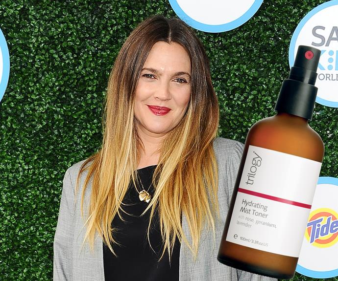 "**4. Drew Barrymore** ""My current obsession is toners,"" says the newly single actress. ""They shrink your pores and keep skin clean."" **Try:** Trilogy Hydrating Mist Toner, $29.90."