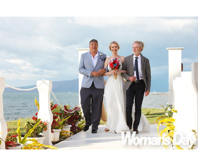 Siobhan walked down the aisle flanked by dad Kevin and stepdad Roy.