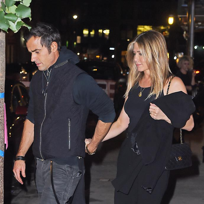 Jennifer and Justin pictured on a date night in New York a few days ago. Photo: Getty