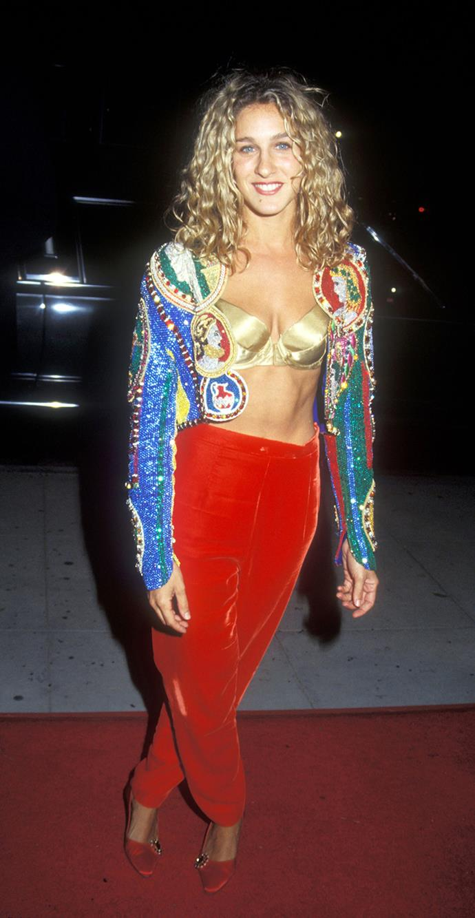 It looks like Sarah-Jessica is channeling a bull-fighter in this matador inspired outfit in 1991.