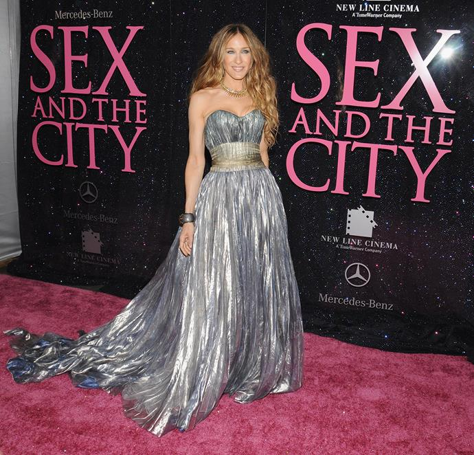 SJP wowed on the red carpet in this floor-length metallic dress by Nina Ricci at the New York premiere of Sex and the City