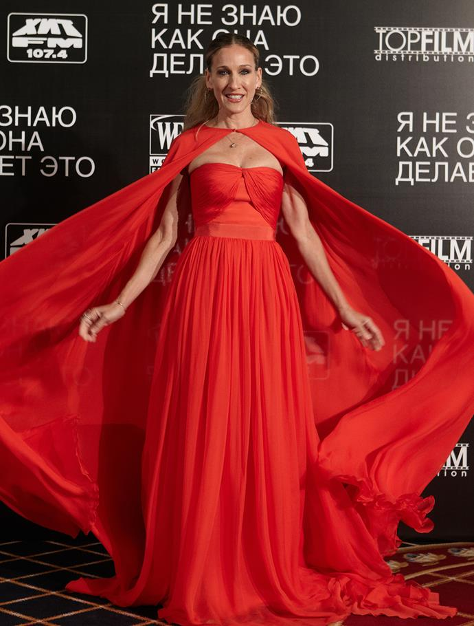 SJP arrived at the premiere of her film premiere 'I Don't Know How She Does It' in Russia, looking like a modern day Red Riding Hood.