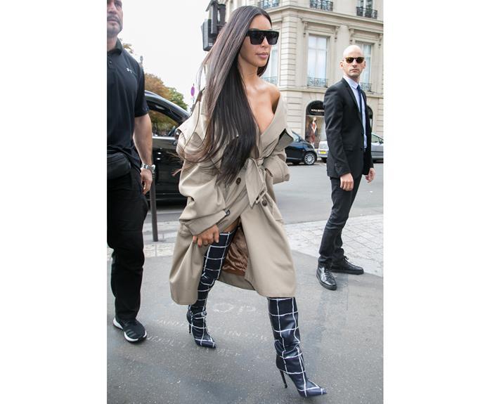Kim has been overseas attending Paris Fashion Week shows. Photo: Getty