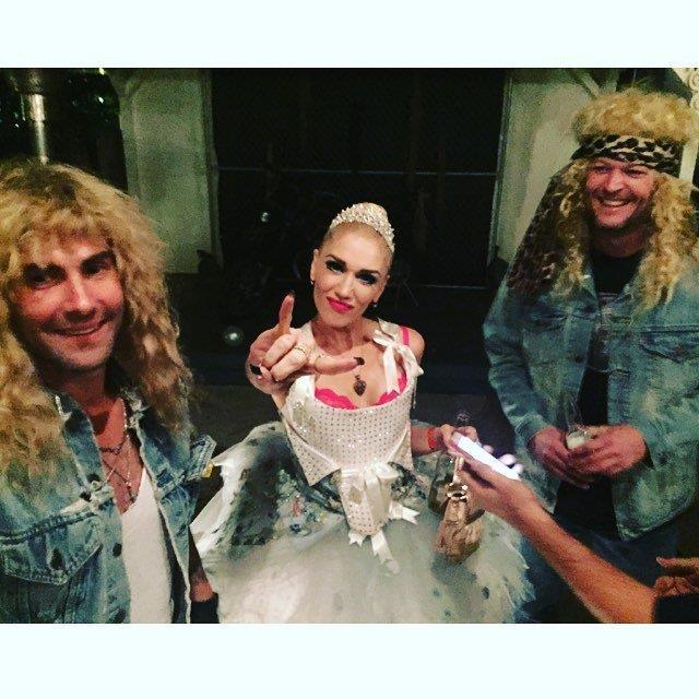 Gwen Stefani and Blake Shelton joined Adam and Behati.