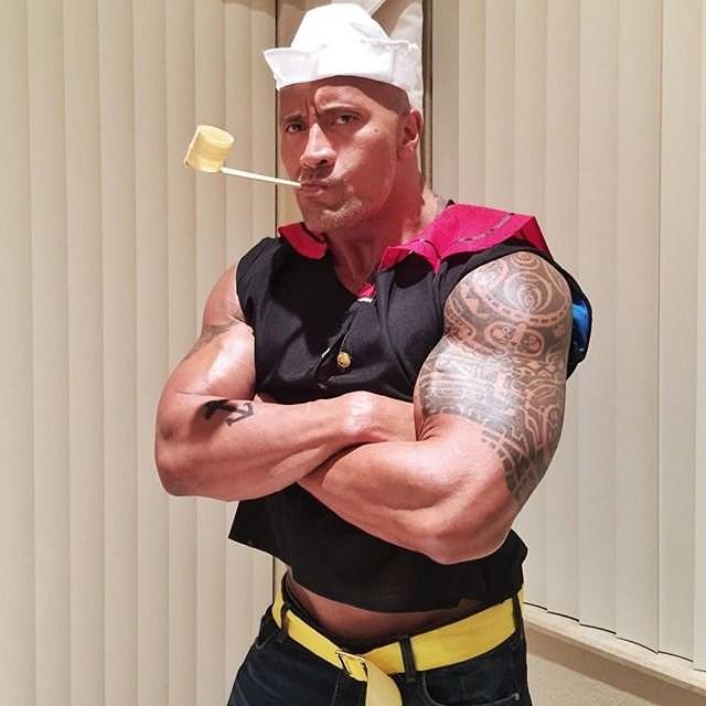 Dwayne 'The Rock' Johnson went as Popeye in 2015.