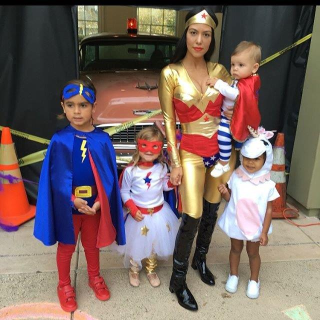 Kourtney Kardashian and her kids went as superheroes, while her niece North West tagged along as a unicorn.