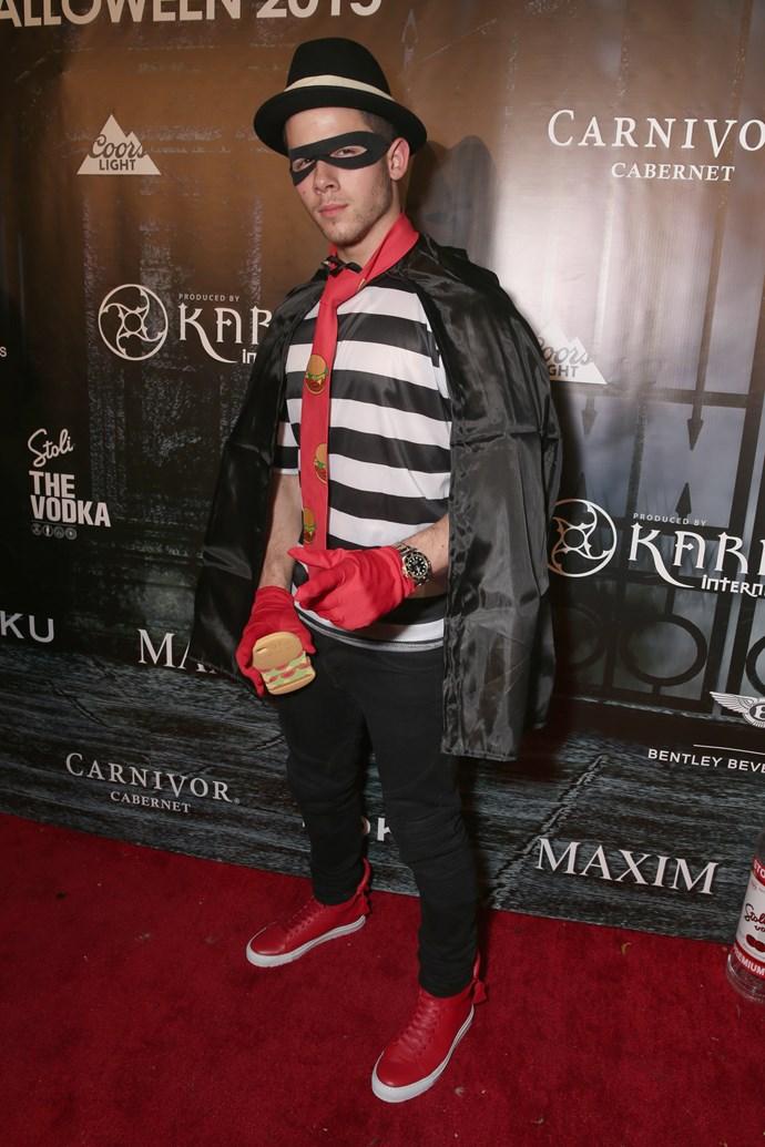 Nick Jonas went as the Hamburglar.