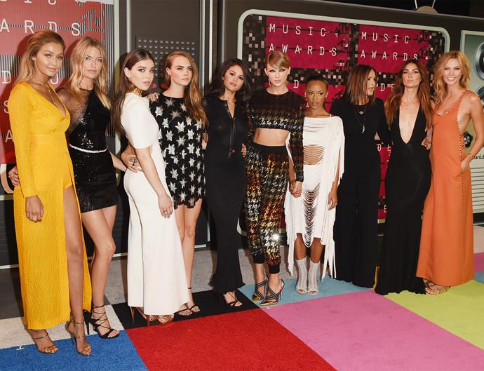 Gigi Hadid, Martha Hunt, Hailee Steinfeld, Cara Delevingne, Selena Gomez, Serayah, Mariska Hargitay, Lily Aldridge and Karlie Kloss with Taylor at the VMAs last year. Photo: Getty