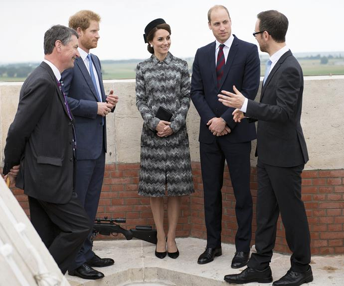 Attending the Somme Centenary commemorations at the Thiepval Memorial on June 30, Kate stayed warm and stylish, wearing a Missoni coat in the label's signature zigzag print with black accessories, including a chic black fascinator and oversized pearl earrings.