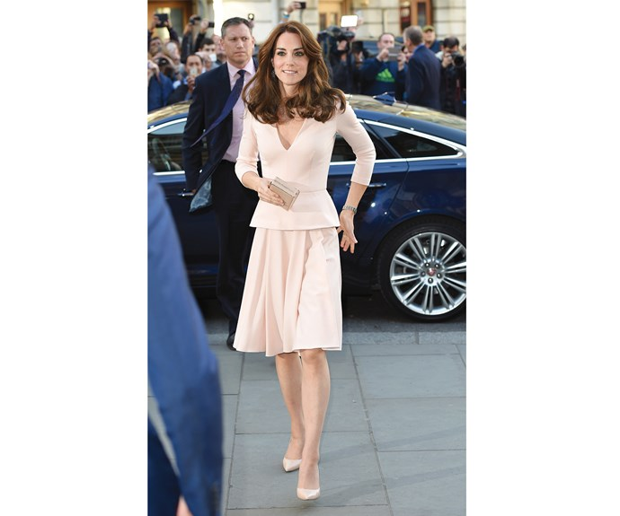 At the 'Vogue 100: A Century Of Style' exhibition at the National Portrait Gallery on May 4, the pressure was on to dress perfectly, as Kate herself was featured in the high-fashion gallery. She opted for a blush pink peplum dress and heels by Alexander McQueen, which she had first worn in Australia in 2014.