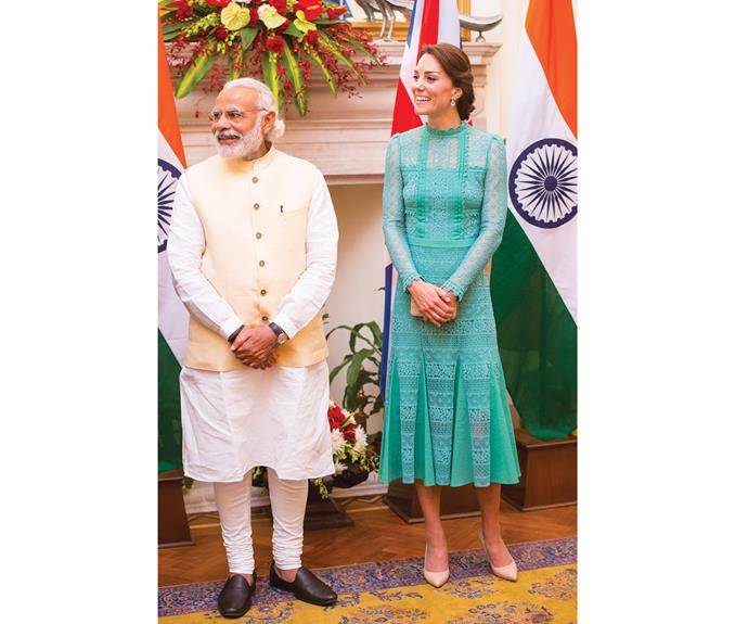 When Kate met the Prime Minister of India, Narenda Modi, she wore a beautiful turquoise lace dress by London label Temperley.