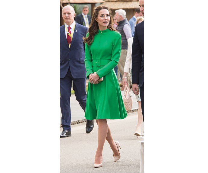 Kate wore a bright green Catherine Walker coat to the Chelsea Flower Show press day at Royal Hospital Chelsea on May 23, where a pink and green Chrysanthemum had been named in honour of Princess Charlotte.