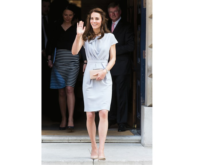 In May, Kate wore a dove-grey Roksanda Illincic dress to a lunch reception, her first engagement as patron of the Anna Freud Centre.