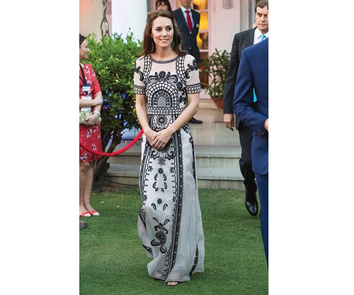 In India, the duchess went to a garden party celebrating the Queen's 90th birthday and wore this $3000 skirt and top combination by one of her favourite London designers, Alice Temperley.