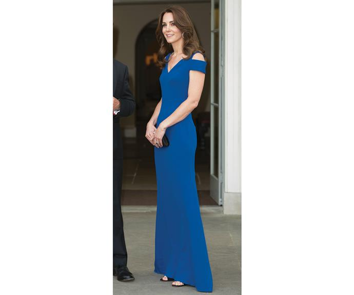 The £2,000 Roland Mouret gown that Kate wore to the SportsAid's 40th anniversary dinner in June was simple and elegant.