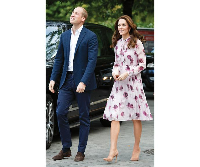 """On the 10th of October, Kate celebrated World Mental Health Day in this relatively affordable $498 Kate Spade dress. The Kate Spade website described the dress as """"pretty enough for date nights but covered enough for any day job."""" Apparently even if your day job is royalty!"""
