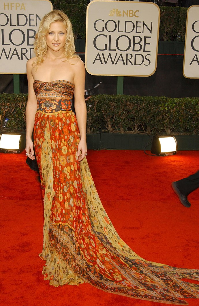 Proving she's the queen of boho glam, Kate rocked a floral, gypsy gown at the 60th Annual Golden Globe Awards in 2003