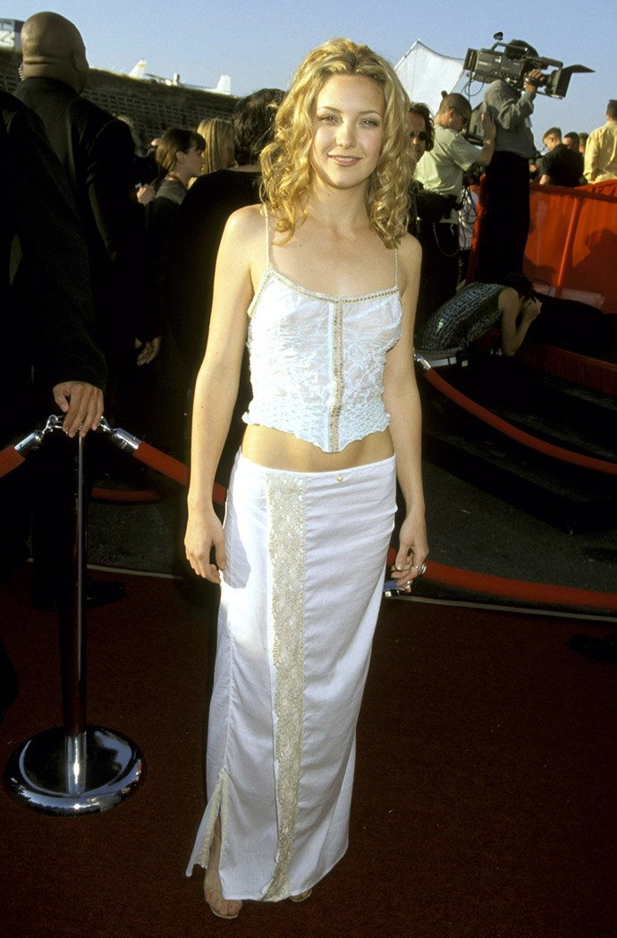 In one of the first of many two-piece ensembles to come, Kate wore this all-white, beaded set at the 1999 MTV Movie Awards