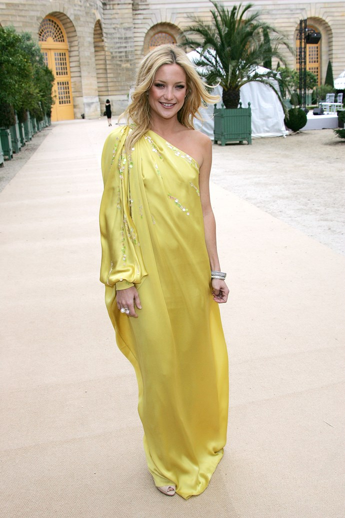 In 2008 the blonde bombshell wore a yellow sari-inspired gown at Paris Haute Couture Fashion Week