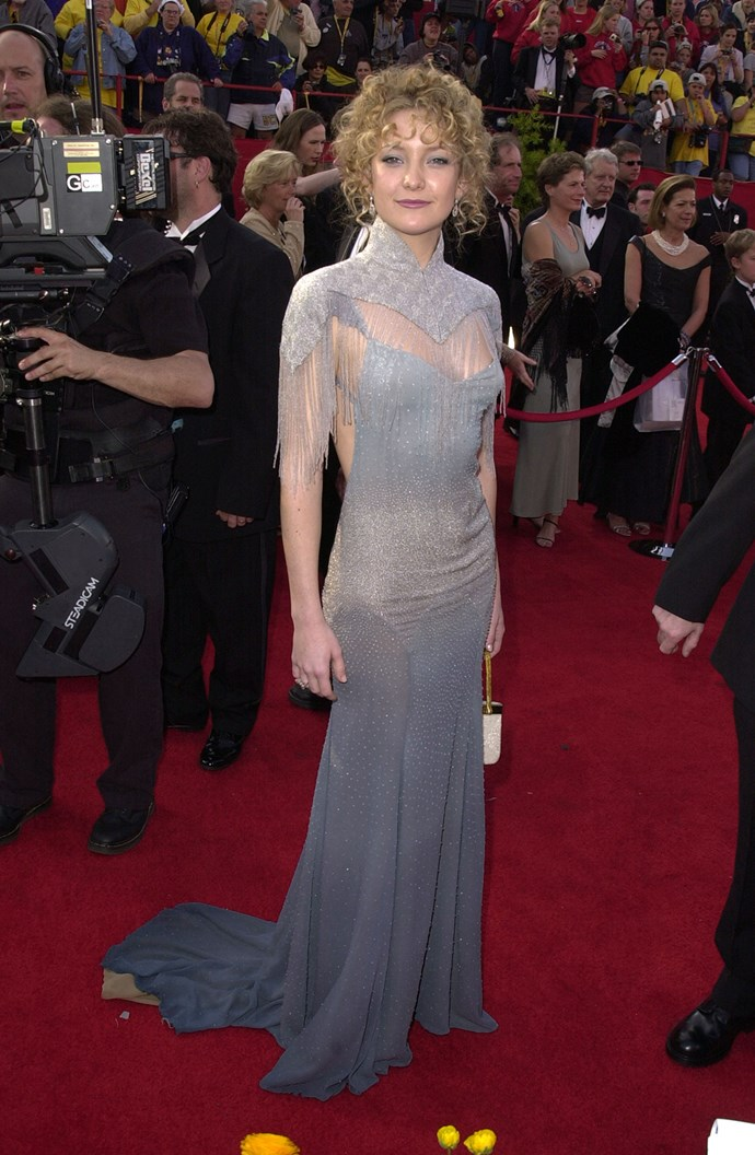 In 2001 Kate donned a controversial look at the 73rd Academy Awards, leaving fashion fans divided about her poodle-updo and futuristic neck piece