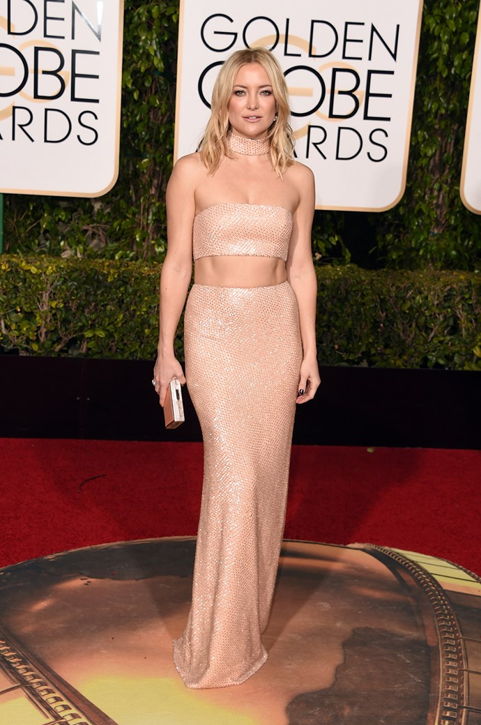 In 2016 Kate stunned in a sequin maxi skirt and matching bandeau top at the 73rd Annual Golden Globe Awards, flaunting her toned stomach