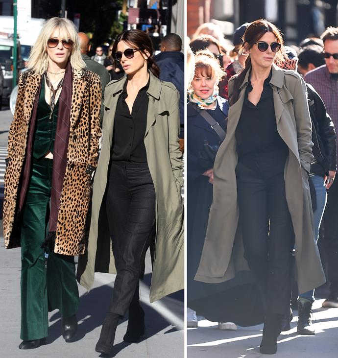 Cate and Sandra were spotted filming scenes for their new film in New York on Monday. Photos: Getty