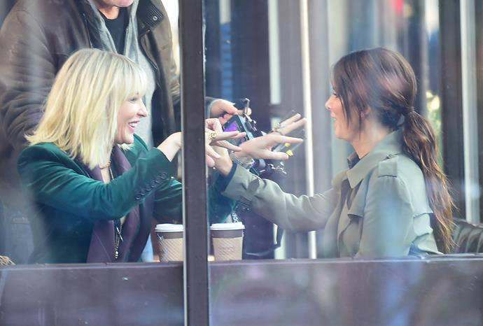 The actresses seemed to be having a ball of a time as they joked and laughed inside the cafe. Photos: Getty