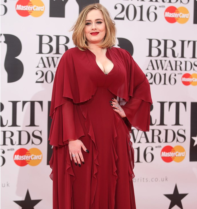 Adele at the 2016 Brit Awards. Photo: Getty
