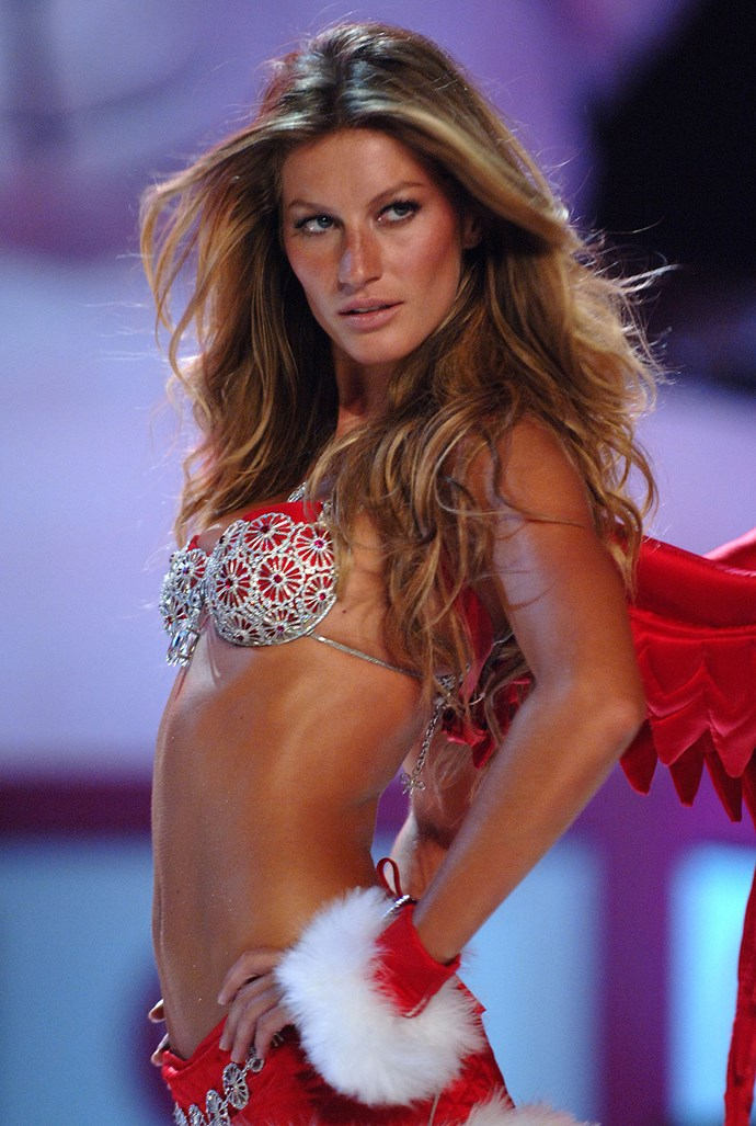 Set in 18-carat white gold, Gisele Bündchen wore the $12,500,000, 18-carat white gold, pave-diamond and ruby gemstone creation.