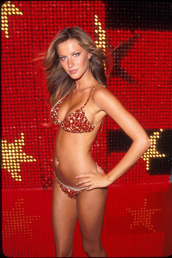 In 2000 the Red Hot Fantasy Bra worn by Gisele Bündchen had a price tag of $15,000,000, earning a place in the Guinness World Records as the most expensive piece of lingerie ever created. It was made of red satin and encrusted with over 1,300 diamonds and rubies, including 300 carats of Thai rubies.