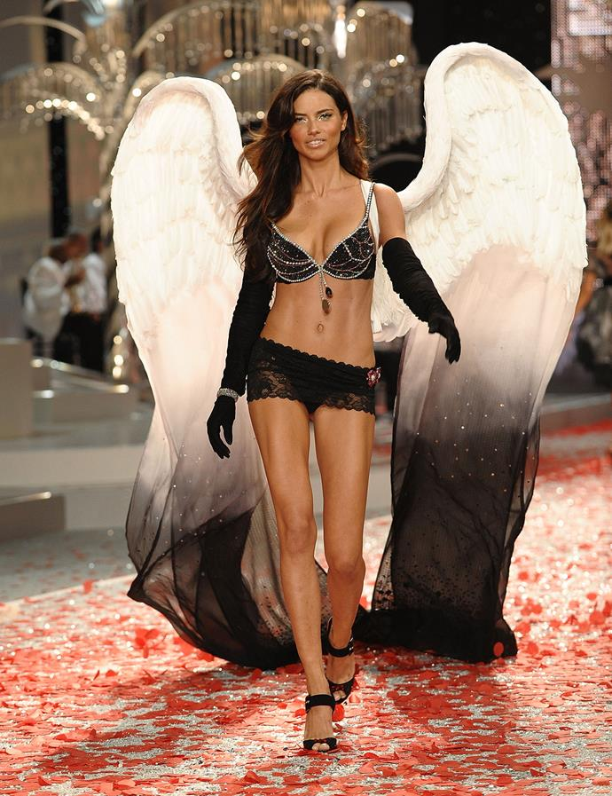 The 2008 Black Diamond Fantasy Miracle Bra worn by Adriana Lima was encrusted with 3,575 black diamonds, 117 certified one-carat round diamonds and 34 rubies. It was valued at $5,000,000.