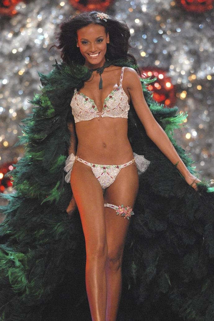 Merry Christmas! The 2007 Holiday Fantasy Bra was worn by Selita Ebanks and valued at $4,500,000. It was made out of diamonds, rubies, emeralds and yellow sapphires.