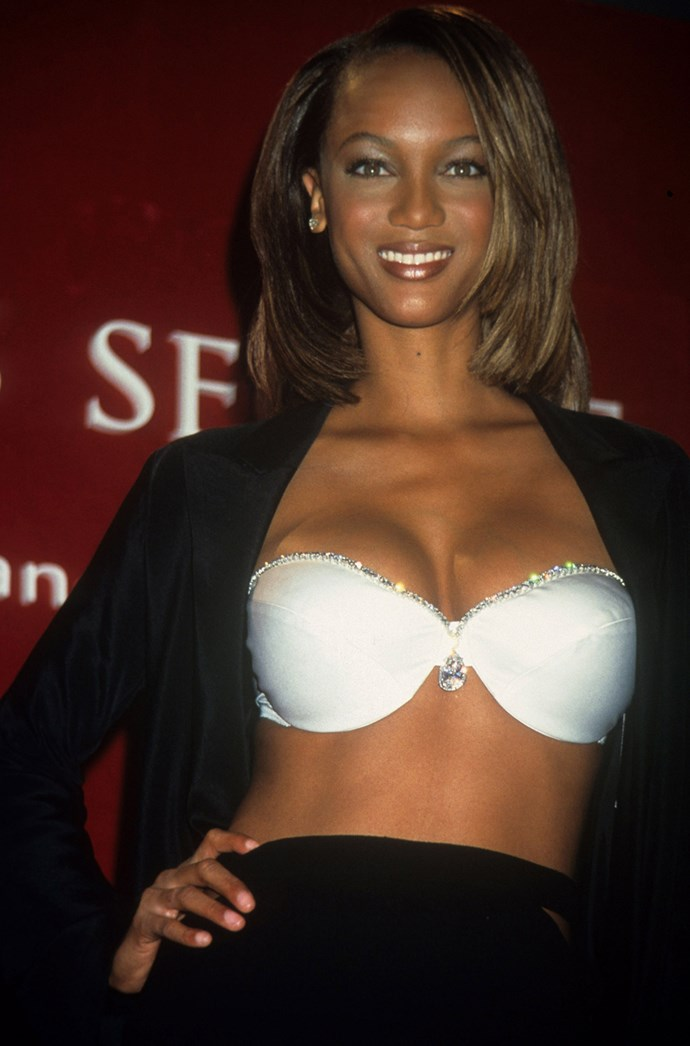 The most subtle Fantasy Bra to date, the 1997 Diamond Dream Bra  was worn by Tyra Banks and valued at $3,000,000. The elegant piece featured a 42 karat diamond at the bra's centre and 93 smaller, pear cut diamonds.