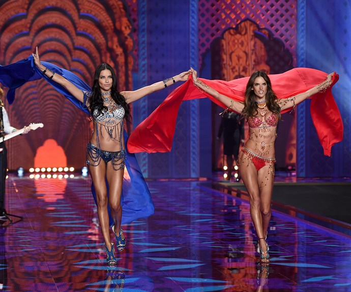 In 2014, for the first time in Victoria's Secret fashion show history, two fantasy bras were created for veteran Angels Alessandra Ambrosio & Adriana Lima.  The  two sapphire, ruby and diamond sets contain 16,000 gems each, were accompanied by a 18-carat jewelled body piece and were valued at $2,000,000 USD each
