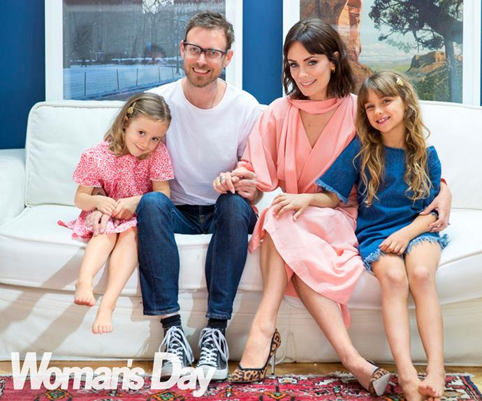 At home, the couple pose with daughters Hunter, 4, and Dee Dee, 7. **Watch Kate talking about her role as Jean Batten in the next video**