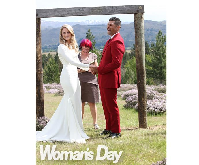 The couple tied the knot in front of 180 guests.