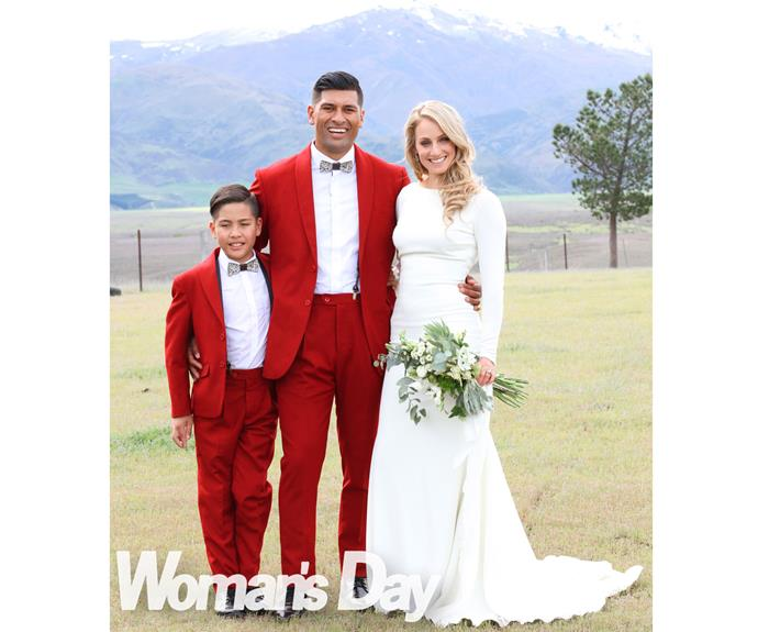 """The informal, fun-filled ceremony is also a poignant commitment to """"Master Phoenix"""", TK's son from a previous relationship, with Larissa wiping away tears as she places three """"happy beads"""" on his wrist – """"for me, Dad and you""""."""